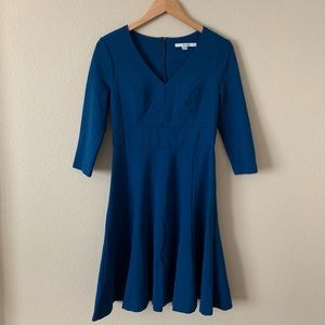 Boden Fit and Flare Dress 3/4 Sleeves Blue